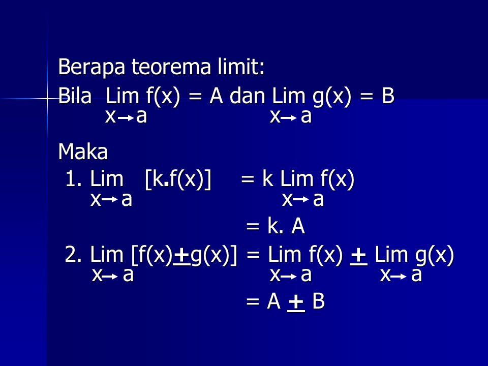 Berapa teorema limit: Bila Lim f(x) = A dan Lim g(x) = B. x a x a. Maka. 1. Lim [k.f(x)] = k Lim f(x)